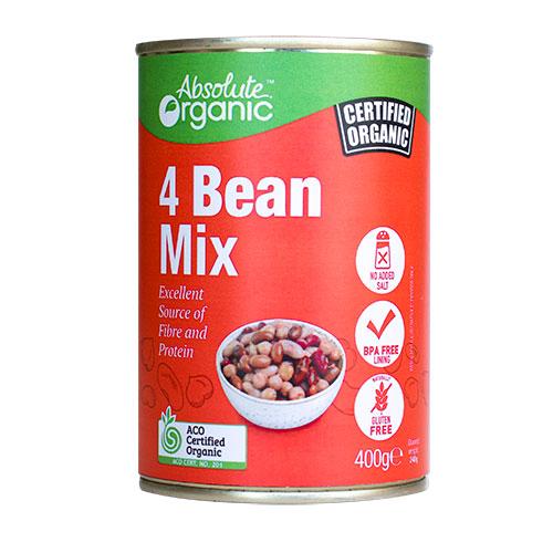 Absolute Organic Tin 4 Bean Mix 400g