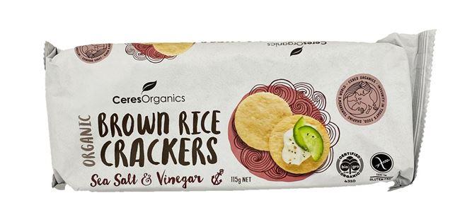 Ceres Organic Brown Rice Crackers Sea Salt and Vinegar 115g