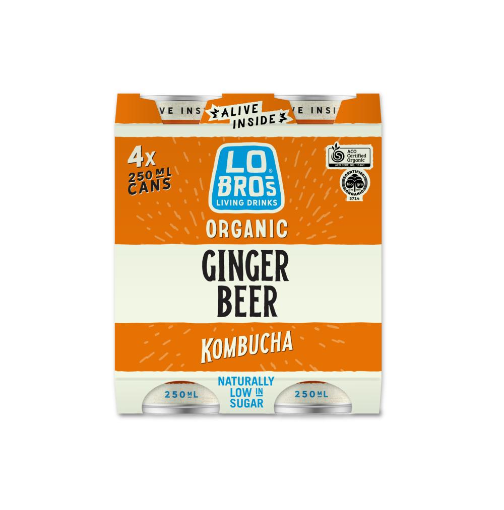 Lo Bros Kombucha Ginger Beer 4x250ml pack